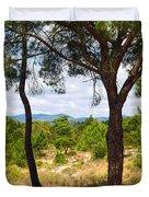 Two Pine Trees Duvet Cover by Carlos Caetano