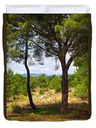 Two Pine Trees Duvet Cover by Carlos Caetano