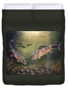 Two Rainbow Trout Duvet Cover by Donna Tucker