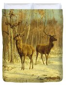 Two Stags In A Clearing In Winter Duvet Cover by Rosa Bonheur