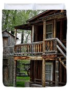 TWO STORY OUTHOUSE - NEVADA CITY MONTANA Duvet Cover by Daniel Hagerman
