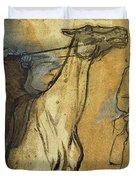 Two Studies Of Riders Duvet Cover by Edgar Degas