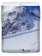 Two Young Men Skiing Untracked Powder Duvet Cover by Henry Georgi Photography Inc