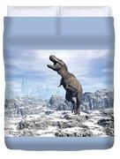Tyrannosaurus Rex Dinosaur In A Snowy Duvet Cover by Elena Duvernay
