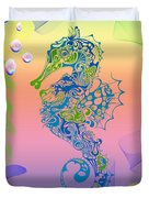 Under The Sea Horse Duvet Cover by Cheryl Young