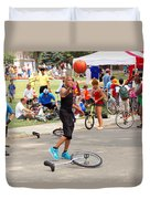 Unicyclist - Basketball - Street Rules  Duvet Cover by Mike Savad