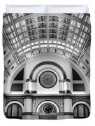 Union Station Lobby Black and White Duvet Cover by Kristin Elmquist