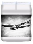 United Airlines Boeing 747 Airplane Black And White Duvet Cover by Paul Velgos