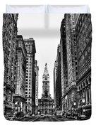 Urban Canyon - Philadelphia City Hall Duvet Cover by Bill Cannon