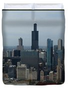 US Cellular and Wrigley Field Chicago BaseBall Parks 3 Panel Composite 02 Duvet Cover by Thomas Woolworth