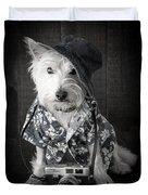 Vacation Dog With Camera And Hawaiian Shirt Duvet Cover by Edward Fielding