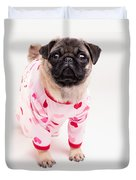 Valentine's Day - Adorable Pug Puppy In Pajamas Duvet Cover by Edward Fielding