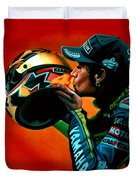 Valentino Rossi Portrait Duvet Cover by Paul  Meijering