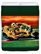 Valentino Rossi The Doctor Duvet Cover by Paul Meijering