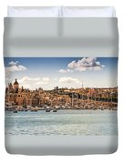 Port Of Valleta Duvet Cover by Maria Coulson