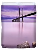 Vasco Da Gama Bridge Duvet Cover by Jorge Maia