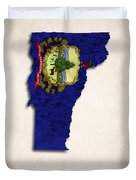 Vermont Map Art With Flag Design Duvet Cover by World Art Prints And Designs