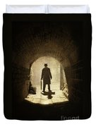 Victorian Man Standing Beneath An Arch Duvet Cover by Lee Avison