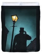 Victorian Man With Top Hat Under A Gas Lamp Duvet Cover by Lee Avison