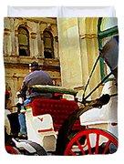 Vieux Port Caleche Scene White Horse Red Wheels Trots Along Cobbled Stones Streets Carole Spandau Duvet Cover by Carole Spandau