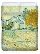 View of Asylum and Saint-Remy Chapel Duvet Cover by Vincent van Gogh