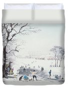 View Of Buckingham House And St James Park In The Winter Duvet Cover by John Burnet