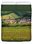 View Of Rodern From The Vineyards Of Alsace Duvet Cover by Greg Matchick
