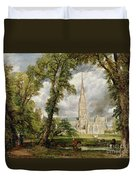 View Of Salisbury Cathedral From The Bishop's Grounds Duvet Cover by John Constable