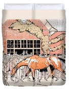 Viewing The Racehorse In The Paddock Duvet Cover by Thelem