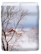 Village Under The Snow. Russia Duvet Cover by Jenny Rainbow