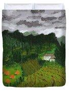 Vineyard And Haystacks Under Stormy Sky Duvet Cover by Vicki Maheu