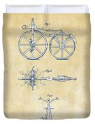 Vintage 1866 Velocipede Bicycle Patent Artwork Duvet Cover by Nikki Marie Smith