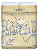 Vintage 1869 Velocipede Bicycle Patent Artwork Duvet Cover by Nikki Marie Smith