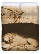 Vintage Lion Of Lucerne Duvet Cover by Dan Sproul