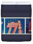 Vintage Neon Signs Trio Duvet Cover by Edward Fielding