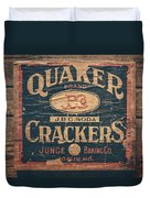 Vintage Quaker Crackers For The Kitchen Duvet Cover by Lisa Russo