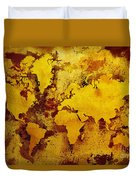 Vintage World Map Duvet Cover by Zaira Dzhaubaeva