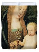 Virgin And Child With Pomegranate Duvet Cover by Hans Holbein the Younger