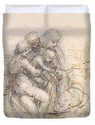 Virgin And Child With St. Anne Duvet Cover by Leonardo da Vinci