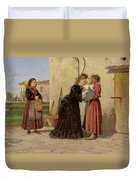 Visiting The Wet Nurse Duvet Cover by Silvestro Lega