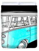 Volkswagen Turquoise Duvet Cover by Cheryl Young