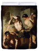 Vulcans Forge Duvet Cover by Luca Giordano