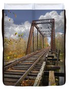 Waiting For The Train Duvet Cover by Debra and Dave Vanderlaan