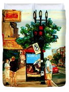 Walking Past Rialto And The Kit Kat Gift Shop Towards Pascals On Blvd. Park Avenue Montreal Scenes Duvet Cover by Carole Spandau