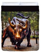 Wall Street Bull Duvet Cover by David Smith