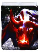 Wall Street Bull - Painterly Duvet Cover by Wingsdomain Art and Photography
