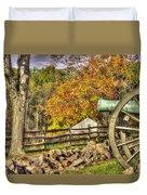War Thunder - 3rd Massachusetts Light Artillery Battery C - J. Weikert Farm Autumn Gettysburg Duvet Cover by Michael Mazaika