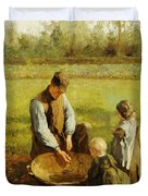 Watching Father Work Duvet Cover by Albert Neuhuys