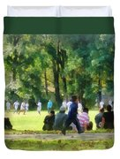 Watching The Soccer Game Duvet Cover by Susan Savad