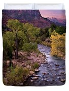 Watchman  Tower Zion Sunrise Duvet Cover by Dave Dilli